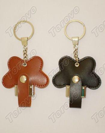 棕黑色蝴蝶花形U盘皮套
