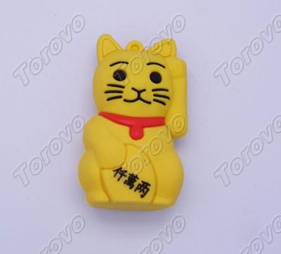 卡通招财猫u盘举手财就来   硅胶u盘   招财猫的手势是有高清图片
