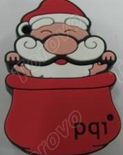 坐在圣诞帽中的圣诞老人U盘来送礼