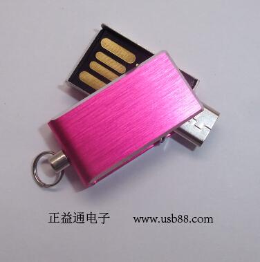 小巧时尚的旋转手机U盘――金属拉丝U盘外壳